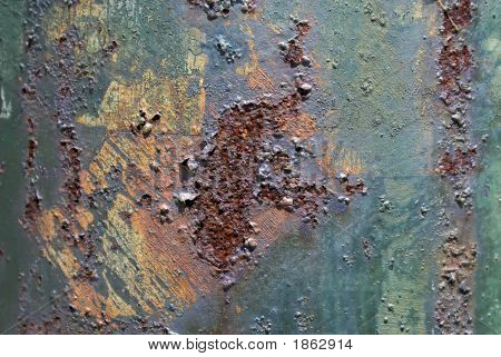 close up of rusted utility pole pock marked and blistered poster