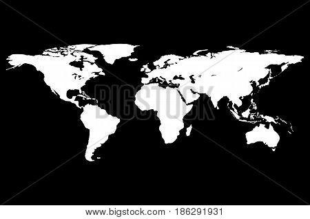 Worldmap template silhouette. World map for infographic. Vector illustration on black