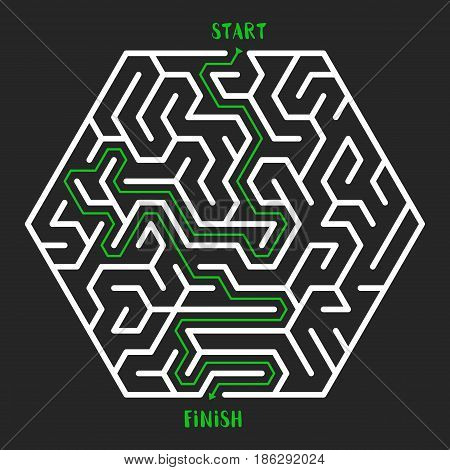 Hexagonal Maze Game background. Labyrinth with Entry and Exit. Vector Illustration.
