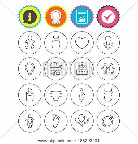Report, information and award signs. Baby and Maternity icons. Toddler, diapers and child footprint symbols. Heart, birthday cake and pacifier thin outline signs. Vector