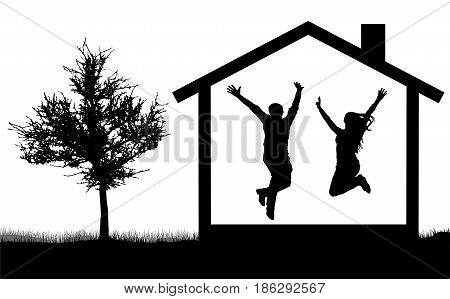 Silhouette of a happy young couple in a house jumping near nature and tree man and woman vector illustration