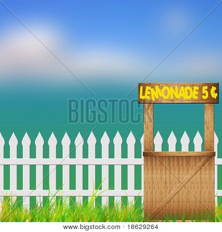 Spring or Summer Background of Lemonade Stand along a Picket Fence.