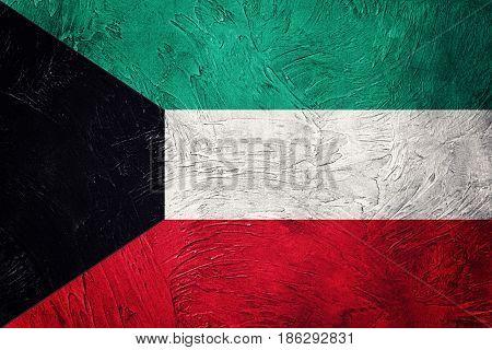 Grunge Kuwait Flag. Kuwait Flag With Grunge Texture.
