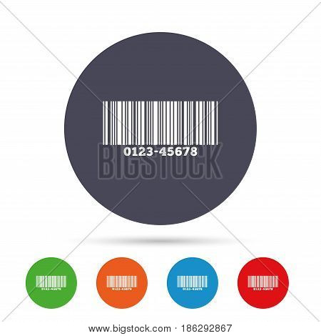 Bar code sign icon. Scan code symbol. Round colourful buttons with flat icons. Vector