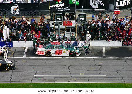 Daytona FEBRUARY 16: - Nascar Driver Dale Earnhardt Jr. pitts during the Great American Race, the Daytona 500, February 16th 2009 Daytona Florida.