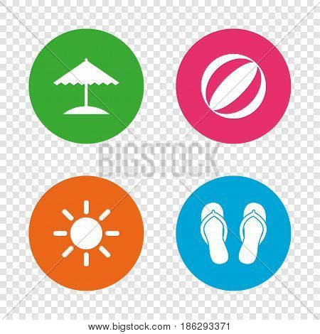 Beach holidays icons. Ball, umbrella and flip-flops sandals signs. Summer sun symbol. Round buttons on transparent background. Vector