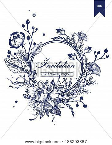 Monochrome invitation floral card template with beautiful flowers and natural branches vector illustration