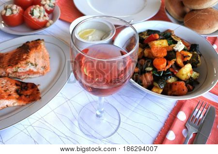 Glass Of Rose Wine Served With Vegetarian Food