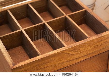 wooden box container empty compartment isolated craft teak frame