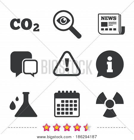 Attention and radiation icons. Chemistry flask sign. CO2 carbon dioxide symbol. Newspaper, information and calendar icons. Investigate magnifier, chat symbol. Vector