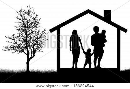 Silhouettes of family with children in the house near tree vector illustration