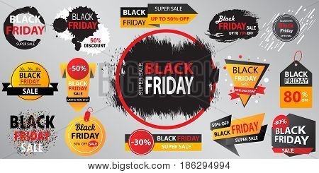 Black Friday Sale Collection Banner  Vector Illustration With Inscription.  Set Of Black Friday Sale
