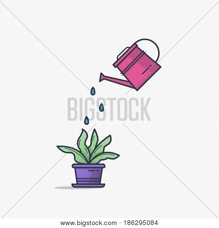 Watering can watering house plant in flowerpot. Line style flat illustration of house plant with leaves in pot. Thin lines. Business growth and investment concept