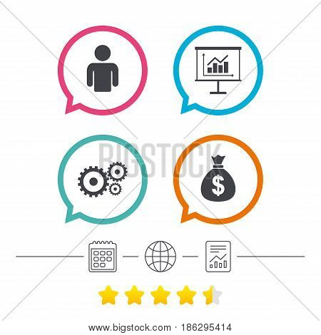 Business icons. Human silhouette and presentation board with charts signs. Dollar money bag and gear symbols. Calendar, internet globe and report linear icons. Star vote ranking. Vector