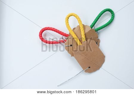 Leather key chain for your secret key on white background
