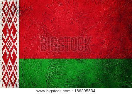 Grunge Belarus Flag. Belorussian Flag With Grunge Texture.