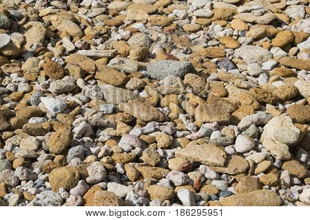 background pebbles and pebbles yellow and gray