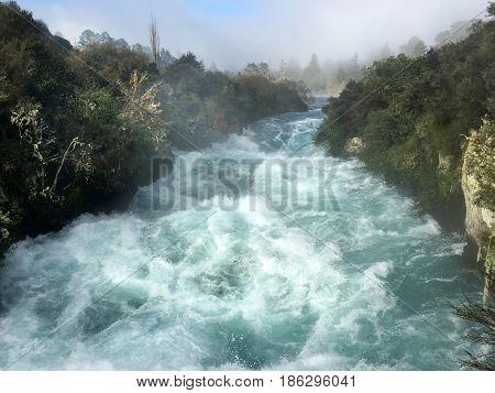 Wild Rushing Stream Of Huka Falls New Zealand