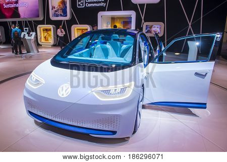 LAS VEGAS - JAN 08 : The Volkswagen booth at the CES Show in Las Vegas Navada on January 08 2017. CES is the world's leading consumer-electronics show.