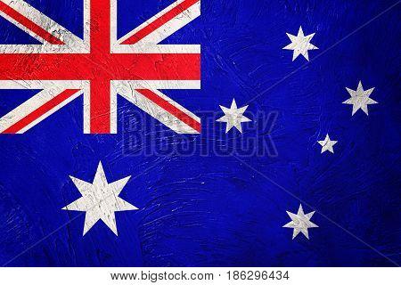 Grunge Australia Flag. Australia Flag With Grunge Texture.