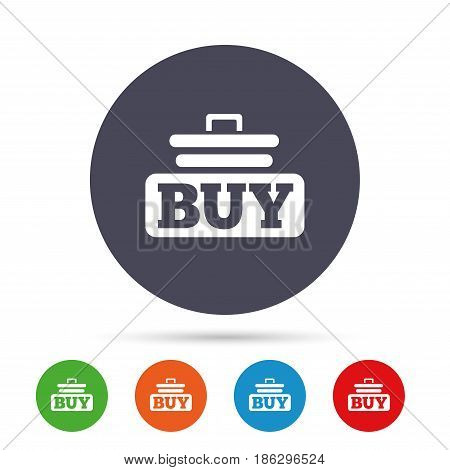 Buy sign icon. Online buying cart button. Round colourful buttons with flat icons. Vector