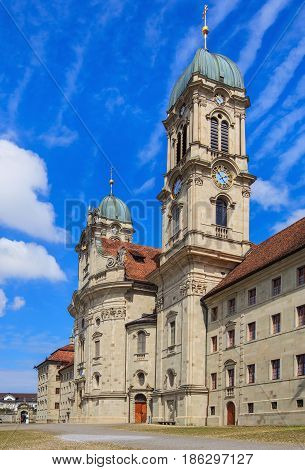Towers of the Benedictine Abbey in the town of Einsiedeln in the Swiss canton of Schwyz.