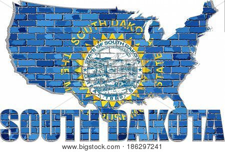 South Dakota flag on a brick wall with effect - 3D Illustration