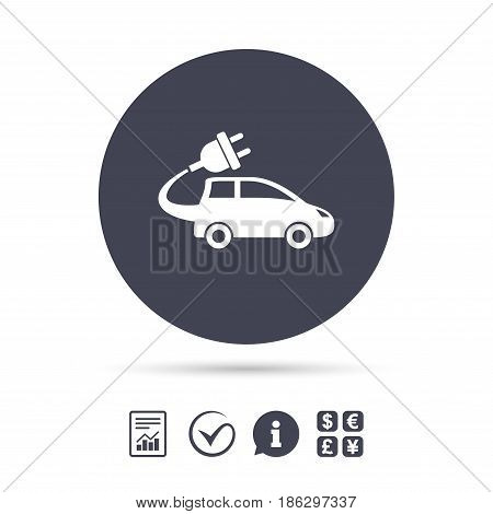 Electric car sign icon. Hatchback symbol. Electric vehicle transport. Report document, information and check tick icons. Currency exchange. Vector