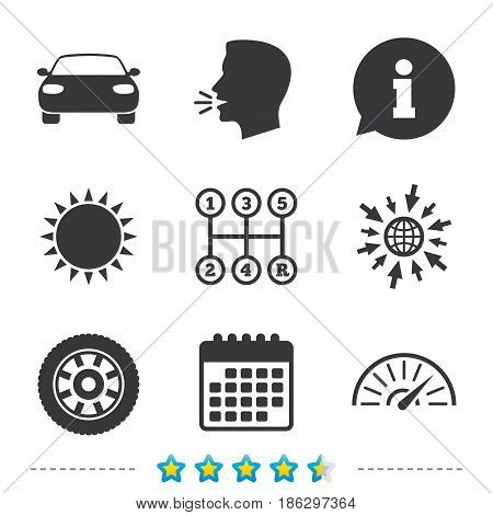 Transport icons. Car tachometer and mechanic transmission symbols. Wheel sign. Information, go to web and calendar icons. Sun and loud speak symbol. Vector