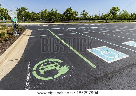 Fishers - Circa May 2017: In an effort to make Electric Charging available for employees companies are repurposing Handicap Parking as EV Charging spots II