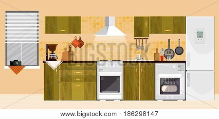 Kitchen interior with furniture refrigerator microwave stove design of modern kitchen vector