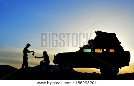 enjoyment of Camping and tea break & camping & vacation