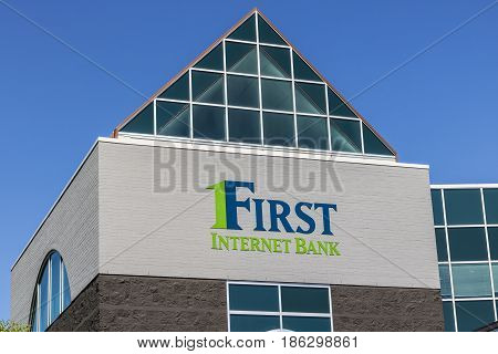Fishers - Circa May 2017: First Internet Bank Headquarters. First Internet Bank is one of the first FDIC insured banks to operate without physical branches I