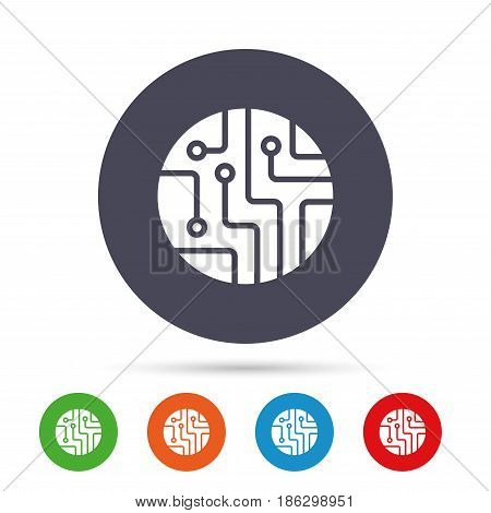 Circuit board sign icon. Technology scheme circle symbol. Round colourful buttons with flat icons. Vector