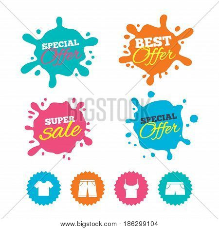 Best offer and sale splash banners. Clothes icons. T-shirt and bermuda shorts signs. Swimming trunks symbol. Web shopping labels. Vector