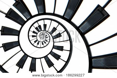 Piano keyboard abstract fractal spiral pattern background. Black and white piano keys round spiral. Spiral stair. Piano concept pattern abstract background. Abstract isolated piano on white. Spiral