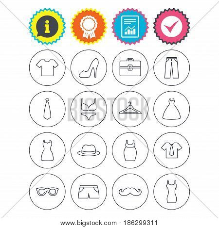 Report, information and award signs. Clothes and accessories icons. Shirt with tie, pants and woman dress symbols. Hat, hanger and glasses thin outline signs. Underwear and maternity clothes. Vector