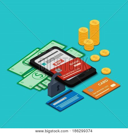 The smartphone and bank cards are closed on a padlock. Money - dollars and coins. Design for online payment security. Isometry, 3D.