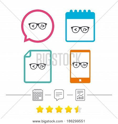 Coder sign icon. Programmer symbol. Glasses icon. Calendar, chat speech bubble and report linear icons. Star vote ranking. Vector