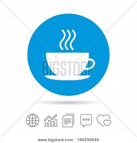 Coffee cup sign icon. Hot coffee button. Copy files, chat speech bubble and chart web icons. Vector