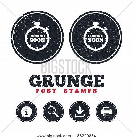 Grunge post stamps. Coming soon sign icon. Promotion announcement symbol. Information, download and printer signs. Aged texture web buttons. Vector