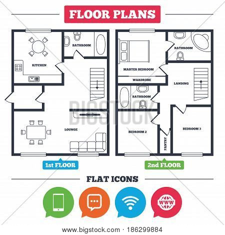 Architecture plan with furniture. House floor plan. Communication icons. Smartphone and chat speech bubble symbols. Wifi and internet globe signs. Kitchen, lounge and bathroom. Vector
