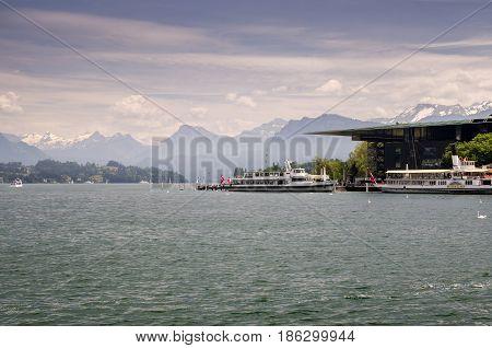 LUCERNE, SWITZERLAND - JUNE 12, 2013: Cruiser ships on Lucerne lake, Switzerland