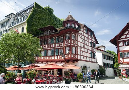 LUCERNE, SWITZERLAND - JUNE 12, 2013: Vintage timber framing houses old town of Lucerne. Switzerland