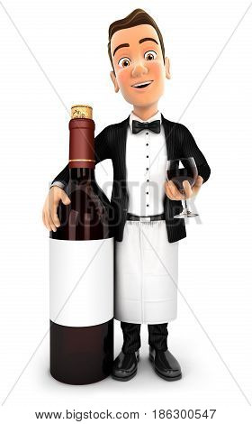 3d waiter standing next to red wine bottle illustration with isolated white background