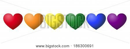 Gay pride rainbow color hearts in a row. Six hearts in the LGBT movement colors. Symbol for tolerance, peace and love. Isolated illustration on white background. Vector.