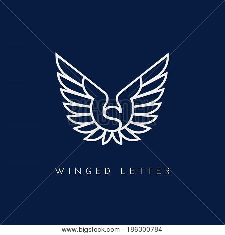 Letter S with two wings. Template for logo label emblem sign stamp. Vector illustration.