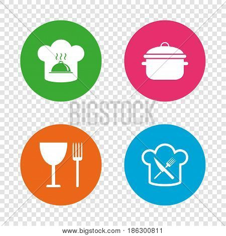 Chief hat and cooking pan icons. Crosswise fork and knife signs. Boil or stew food symbols. Round buttons on transparent background. Vector