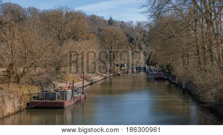 Cookham UK - 13th March 2017: A view of Cookham lock Berkshire UK.