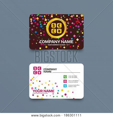 Business card template with confetti pieces. Currency exchange sign icon. Currency converter symbol. Money label. Phone, web and location icons. Visiting card  Vector